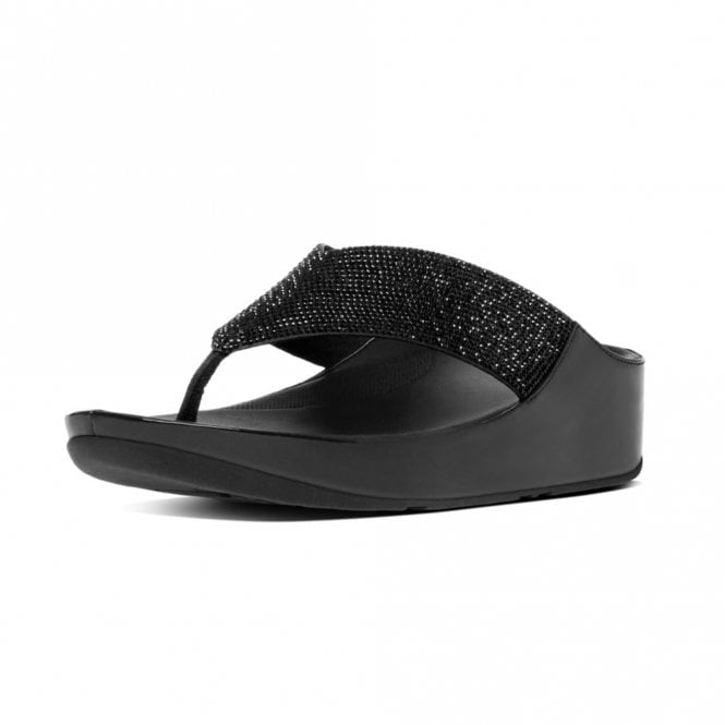 FitFlop Crystall™ Toe-Post Sandals in Black