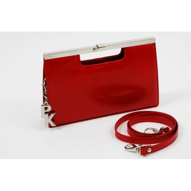 Peter Kaiser Red clutch bag | suede or leather upper