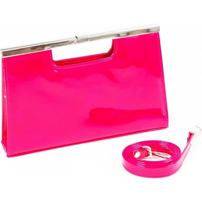 official site 100% satisfaction shop for original Peter Kaiser Cult S12 clutch bag in neon pink patent