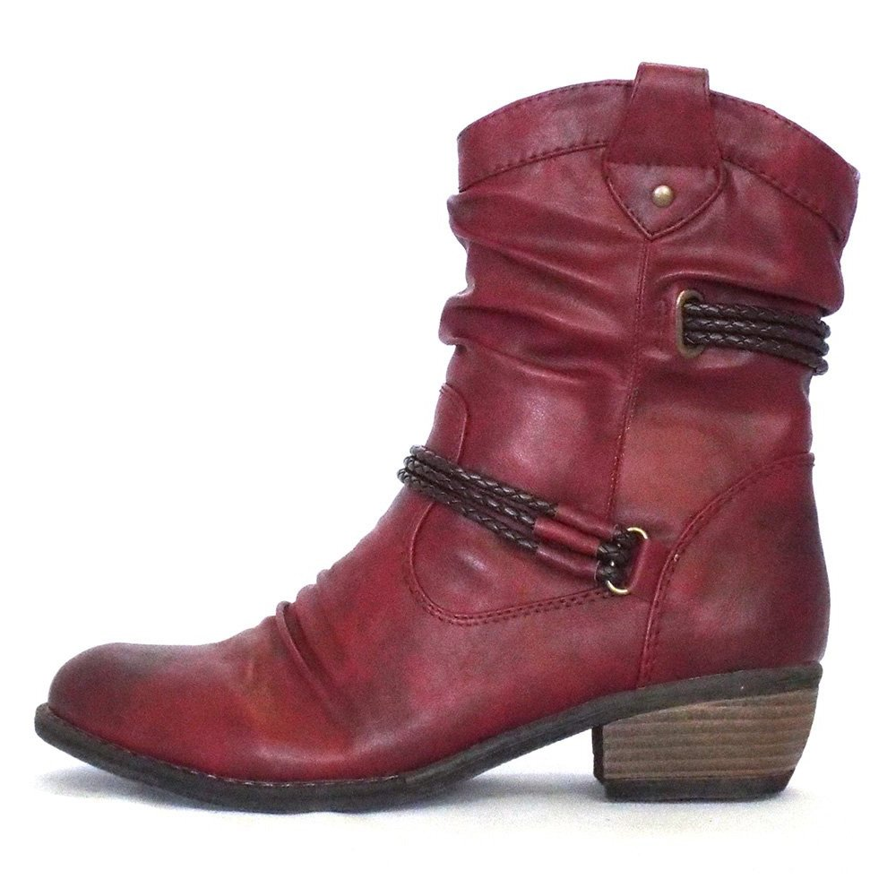 Innovative  Womens Fly Ygot Nevada Red Leather Wedge Heel Ankle Boots Sz Size