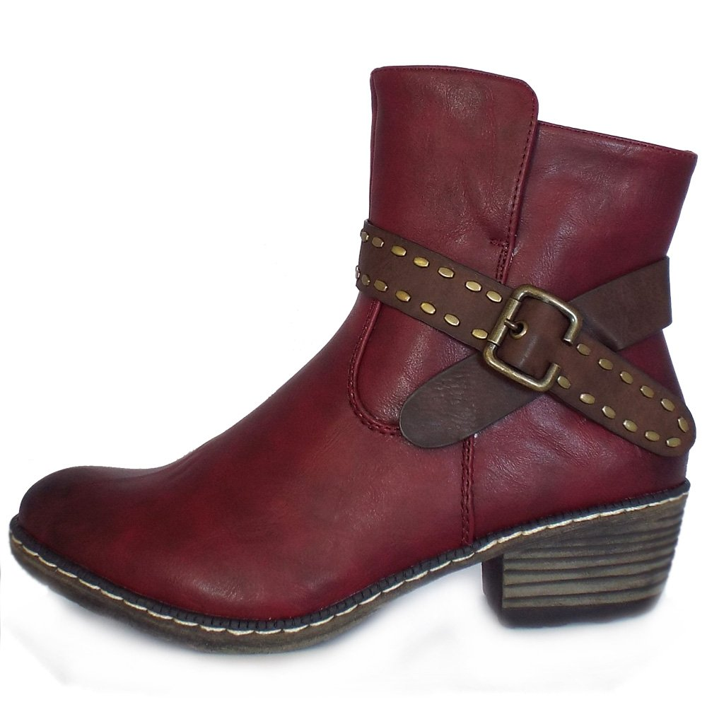 rieker danube fashion winter ankle boots in burgundy