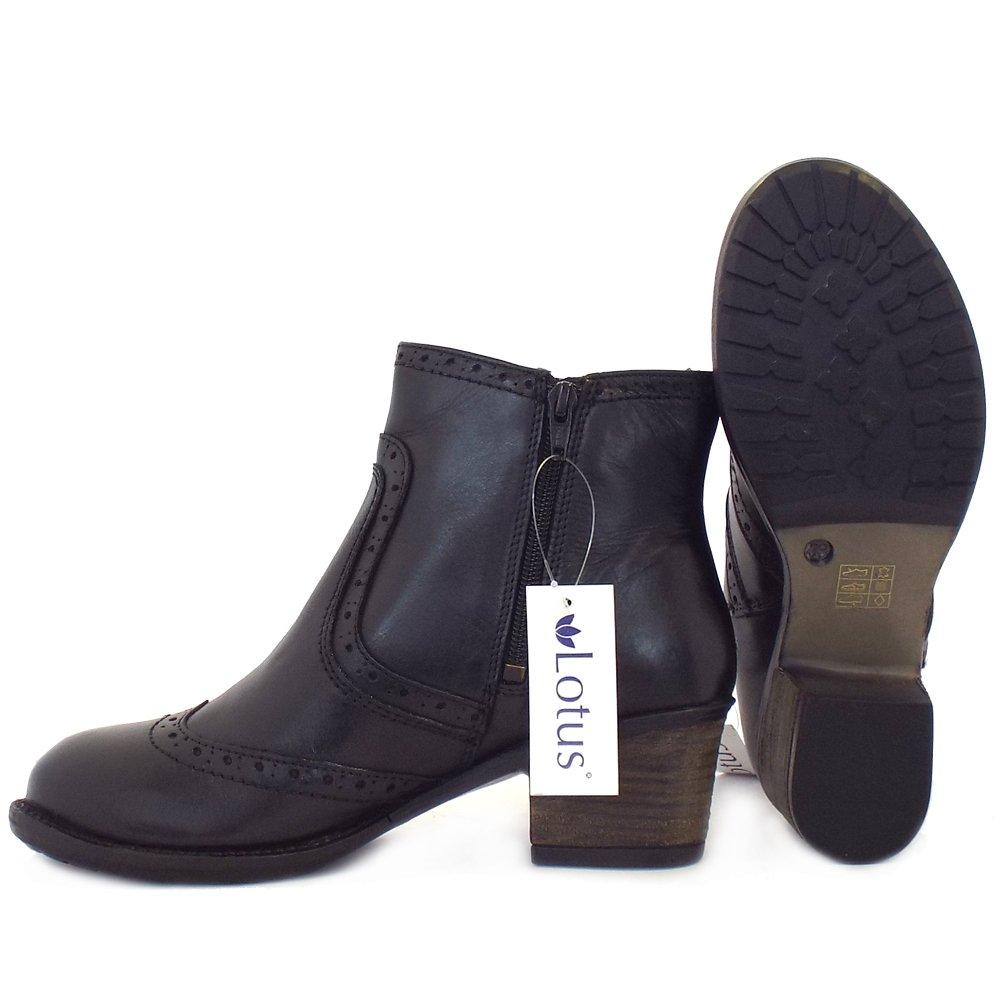 Daria In Leather: Women's Block Heel Black Leather Brogue