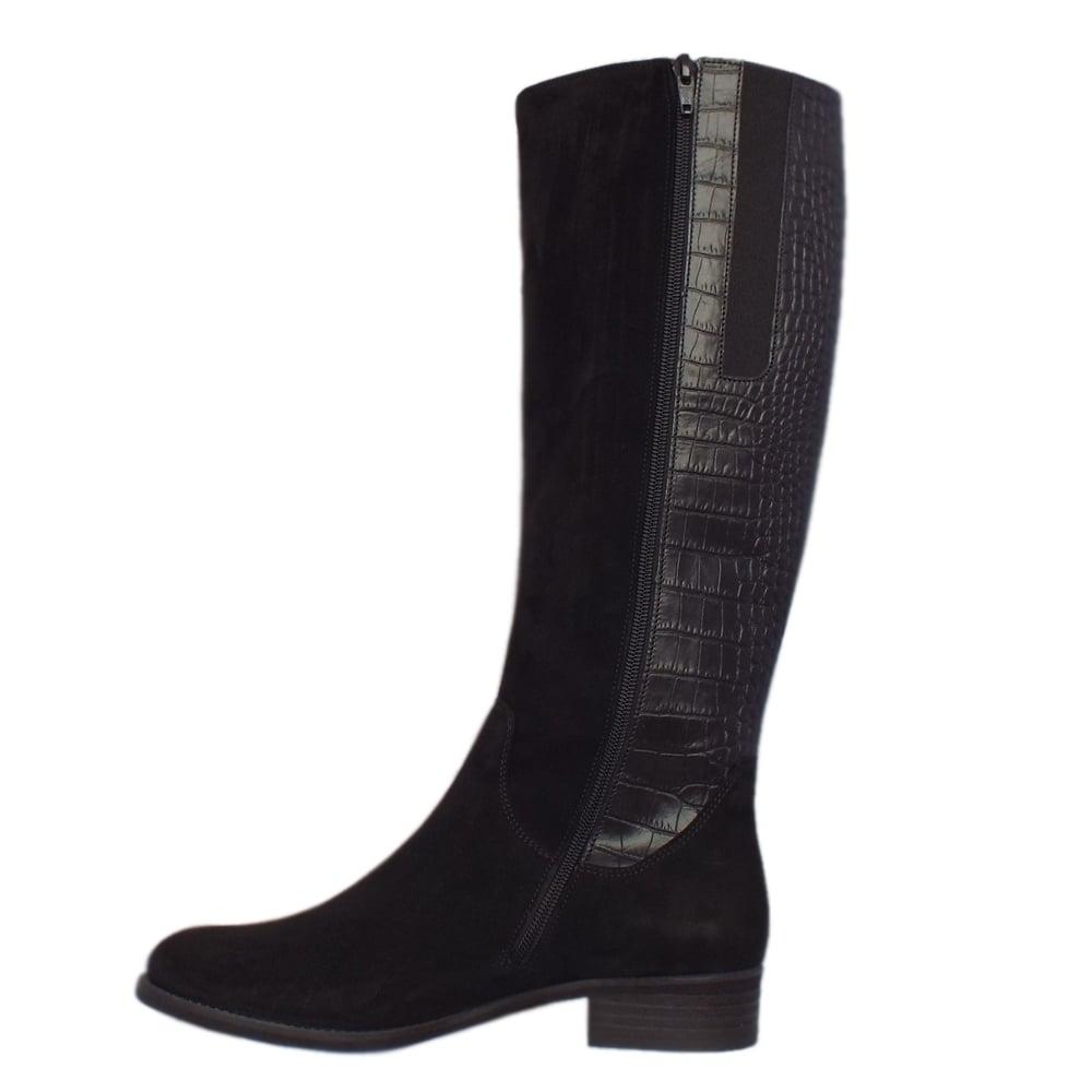 gabor dawson modern black leather knee high boots mozimo
