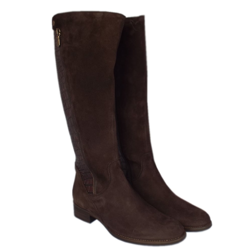 gabor dawson modern brown leather knee high boots mozimo