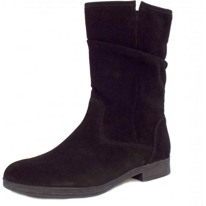 Dolce Mid Calf Slouch Suede Boots in Black