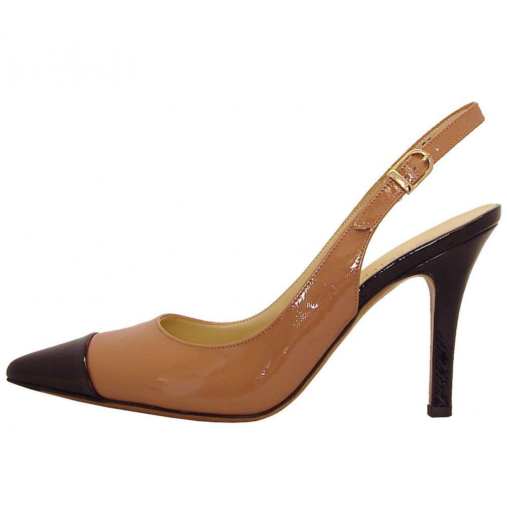 shoes dona sling back high heel shoes in caramel and black patent. Black Bedroom Furniture Sets. Home Design Ideas