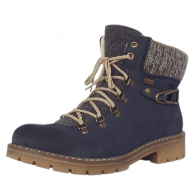 Rieker Donna RiekerTEX Winter Boots with Knitted Collar in Blue Kombi