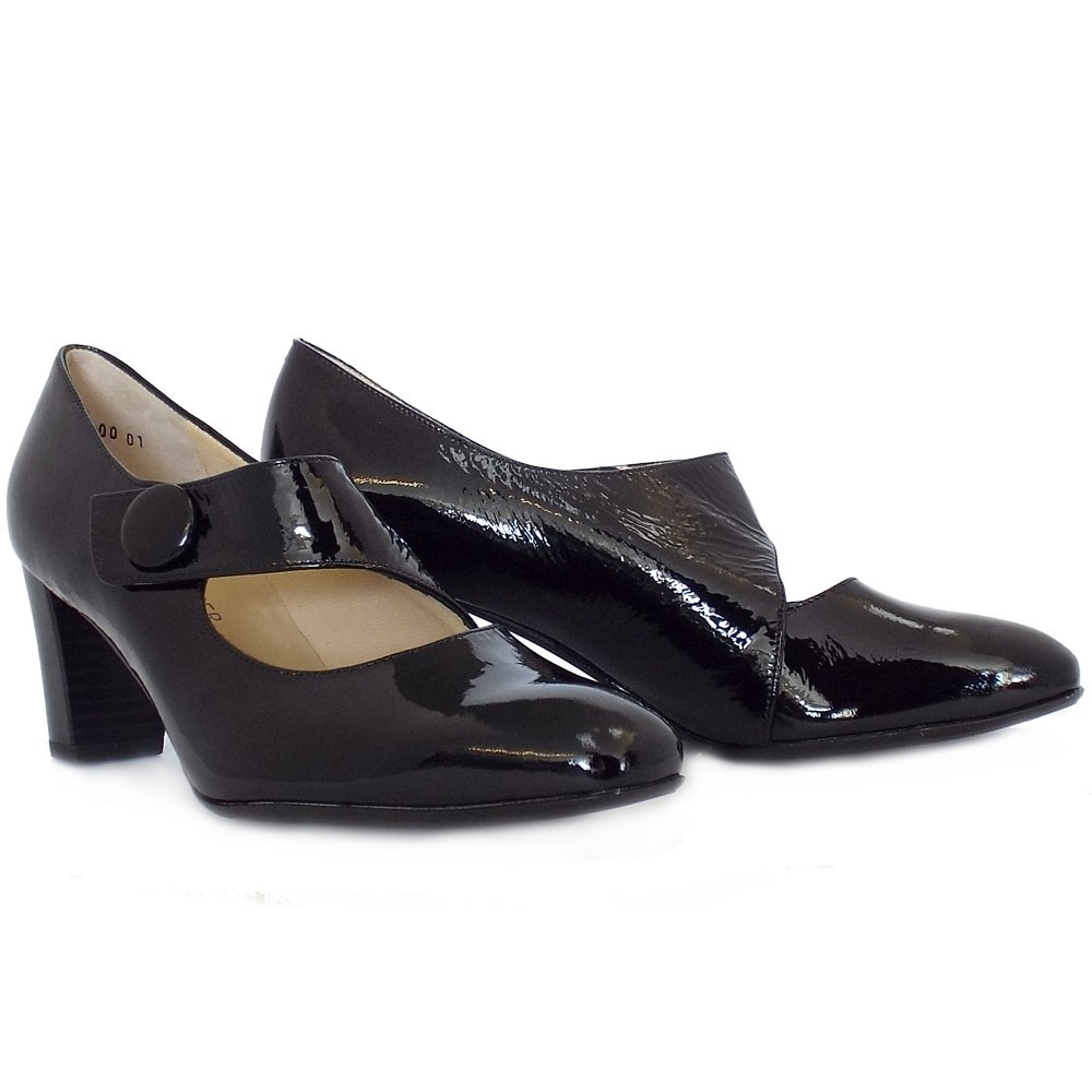 peter kaiser dorothy mid heel mary jane shoes black patent mozimo. Black Bedroom Furniture Sets. Home Design Ideas