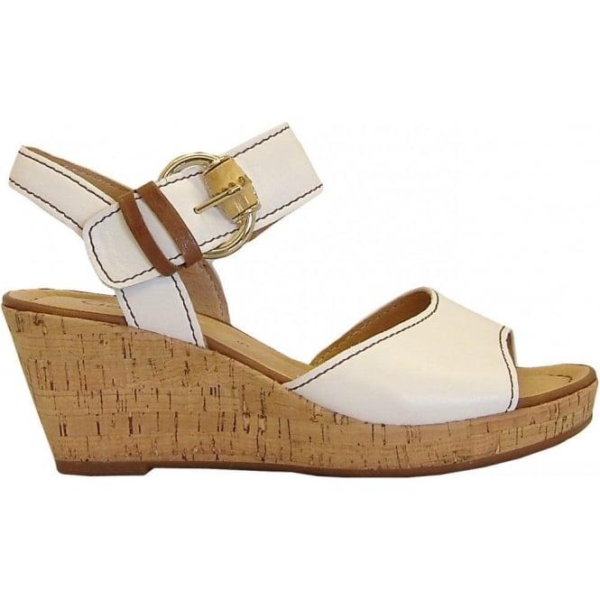 ed9bc159515 Dover Ladies Cork Wedge Sandal In White