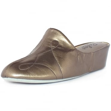 Dulcie Dressy Luxury Slippers In Metallic Pewter Leather