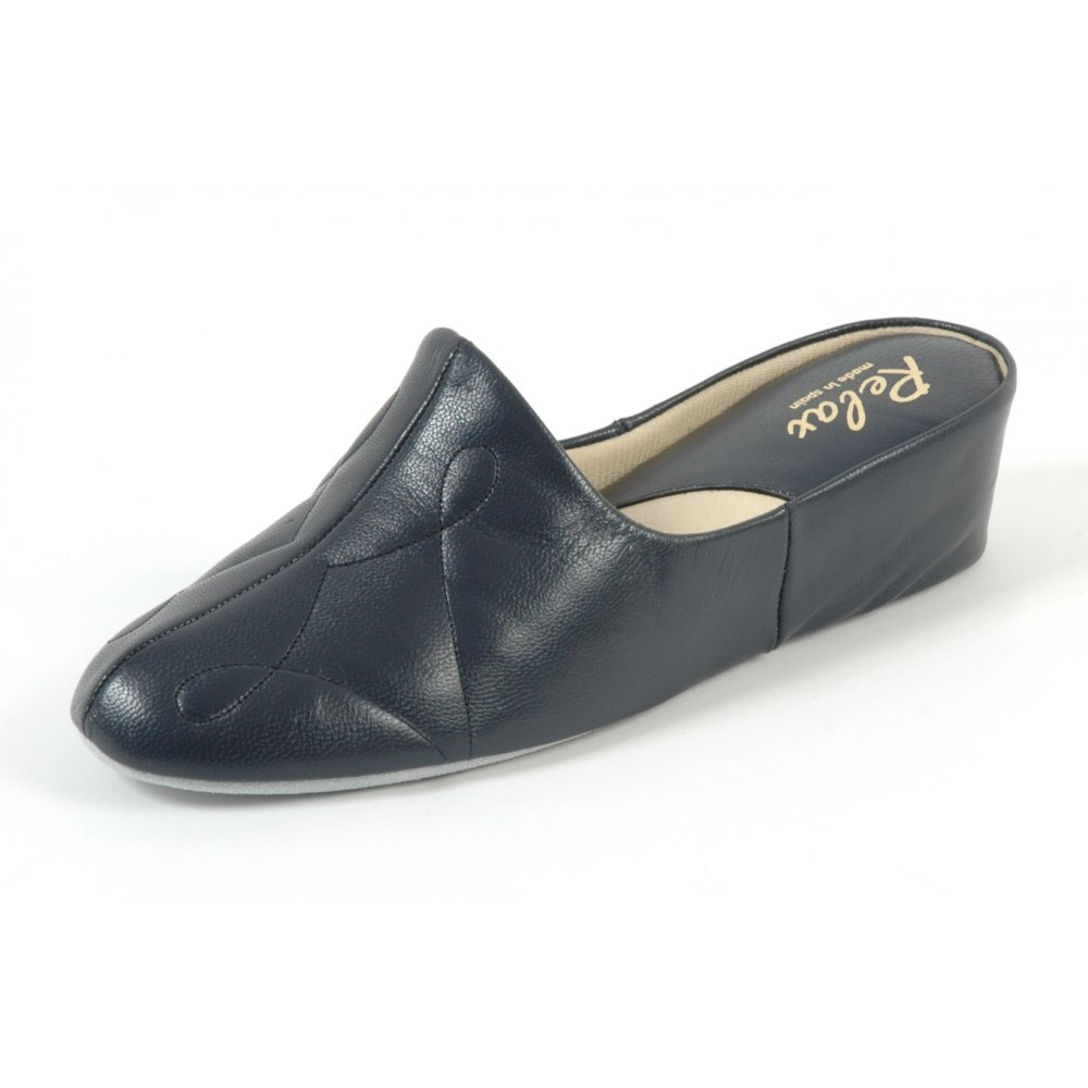 Dulcie Relax Womens Luxurious Leather Slippers Black Patent Slippers Buy Relax Slippers At