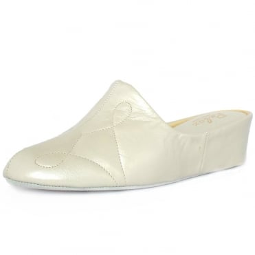 Dulcie Luxury Dressy Slippers In Off-White Oyster Leather