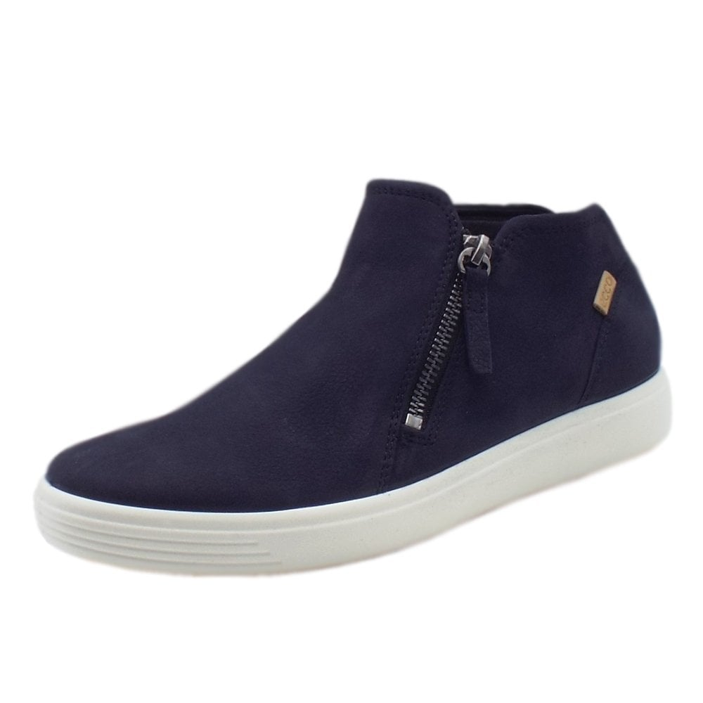 fb19fc9f1343a Ecco Soft 7 Zip Boot | Women's Leather Boots in Navy Nubuck | Mozimo