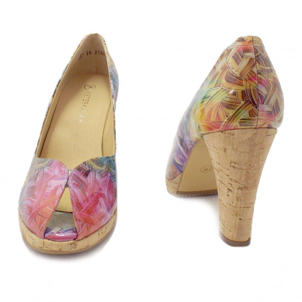 peter kaiser edita multi coloured peep toe high heels. Black Bedroom Furniture Sets. Home Design Ideas