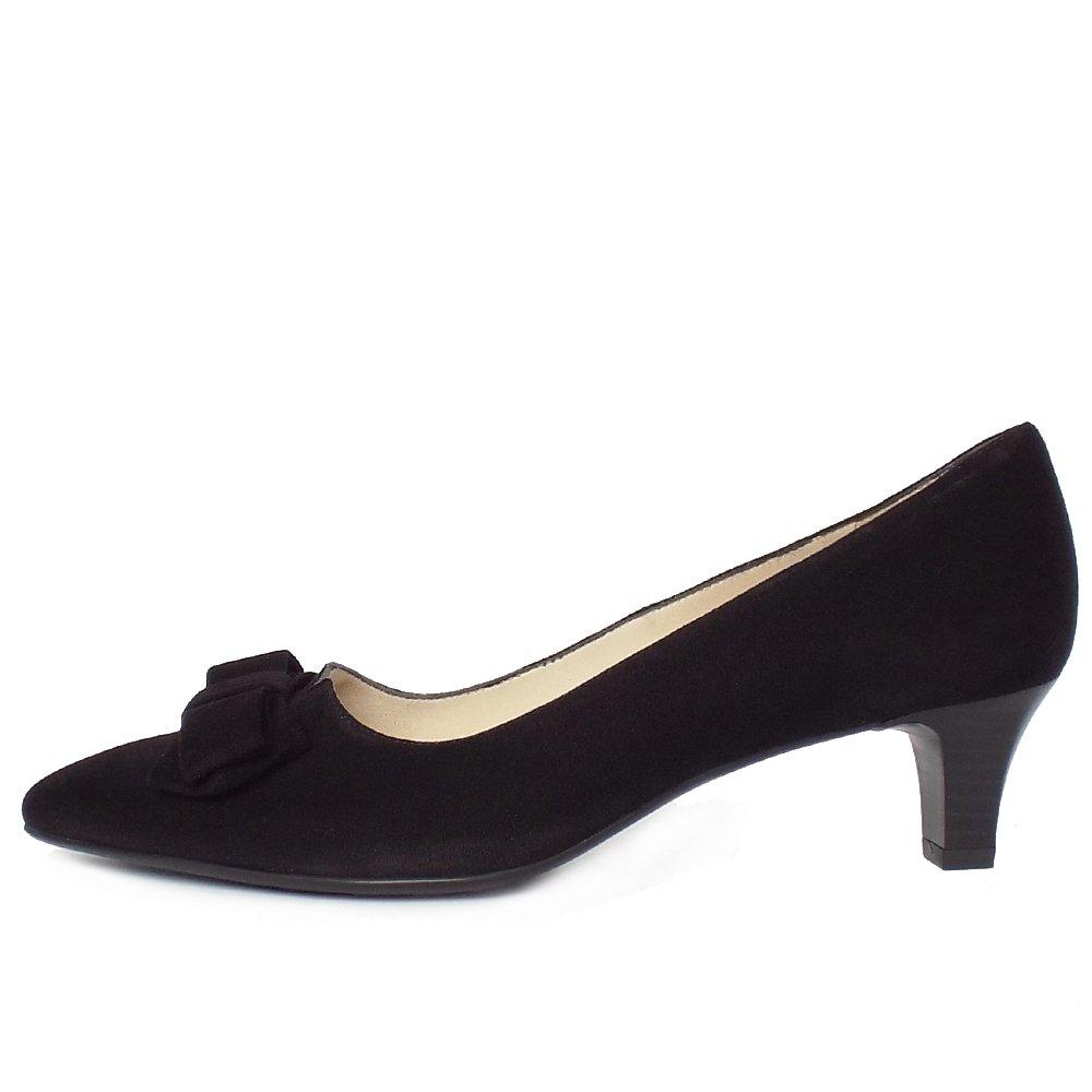 Black Suede Kitten Heel Court Shoe