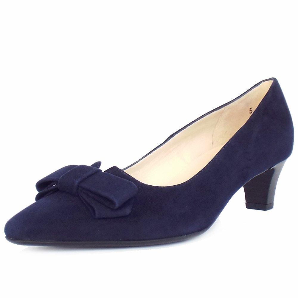 Navy Kitten Heel Court Shoes