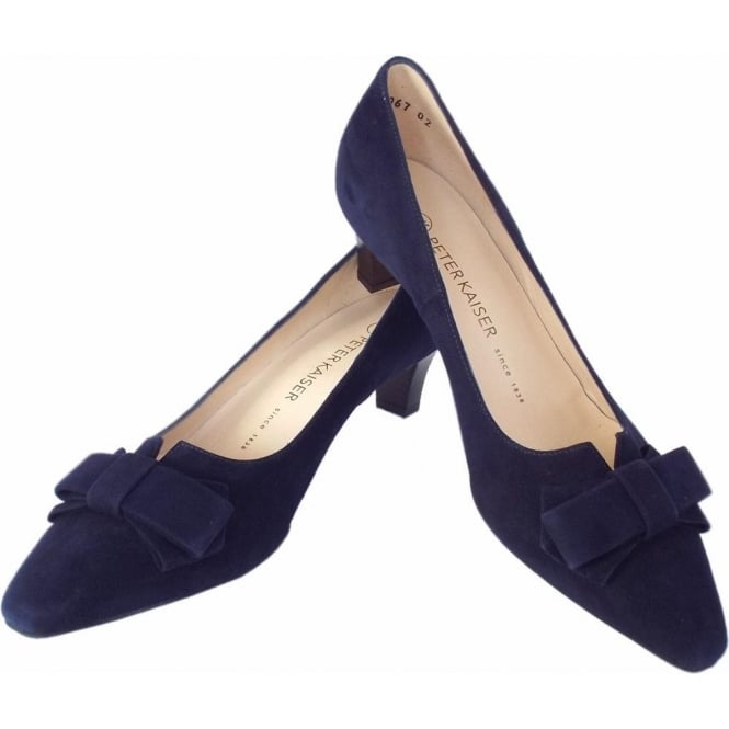 Peter Kaiser Egina | Women's Kitten Heel Court Shoes in Navy Suede