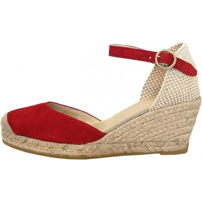 eff4983a0455 Eldora classic ankle strap wedge espadrilles in red suede