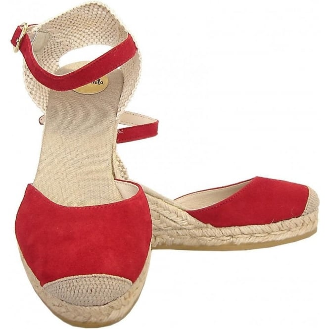 5f6d46703be Eldora classic ankle strap wedge espadrilles in red suede
