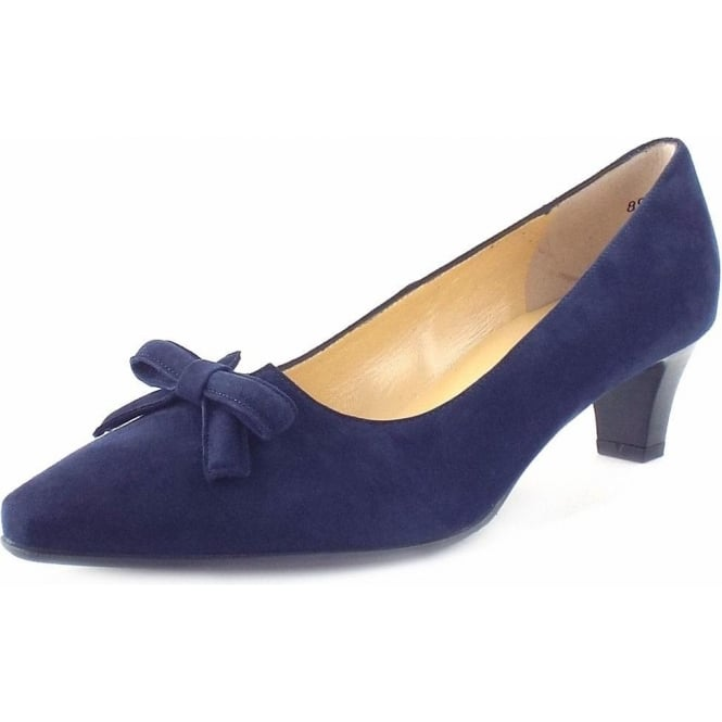 Peter Kaiser Elsie | Kitten Heel Court Shoes With Bow In Navy | Mozimo