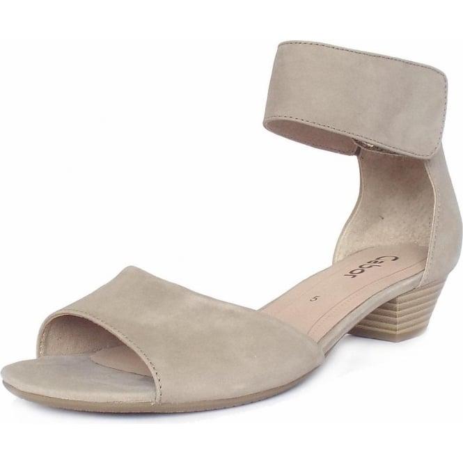 b7df18b87a6a Elvira Modern Low Heel Ankle Strap Sandal in Beige
