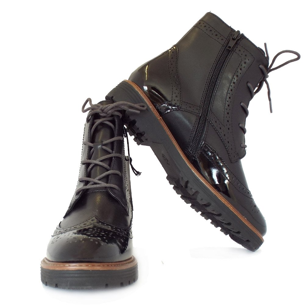 ely black s fashion brogue boots in black mix