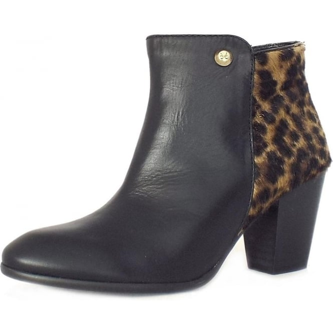 black ankle boots with leopard print