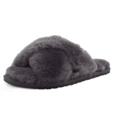 Mayberry Luxury Australian Ladies Sheepskin Slippers in Charcoal