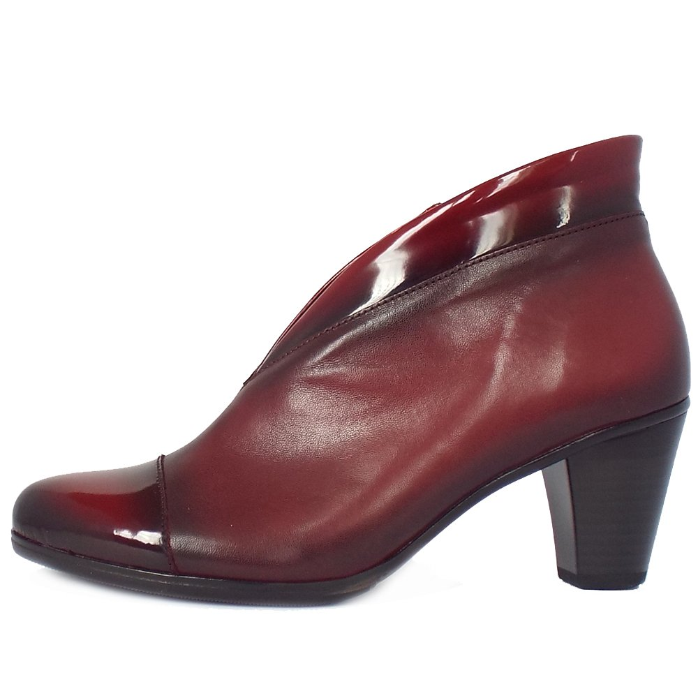 Gabor Boots Enfield Red Leather And Patent Ankle Boots Mozimo