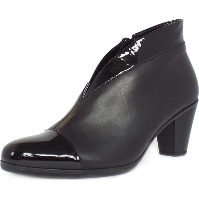 Enfield Shoe Boots in Black Leather and Patent 7643882b51b