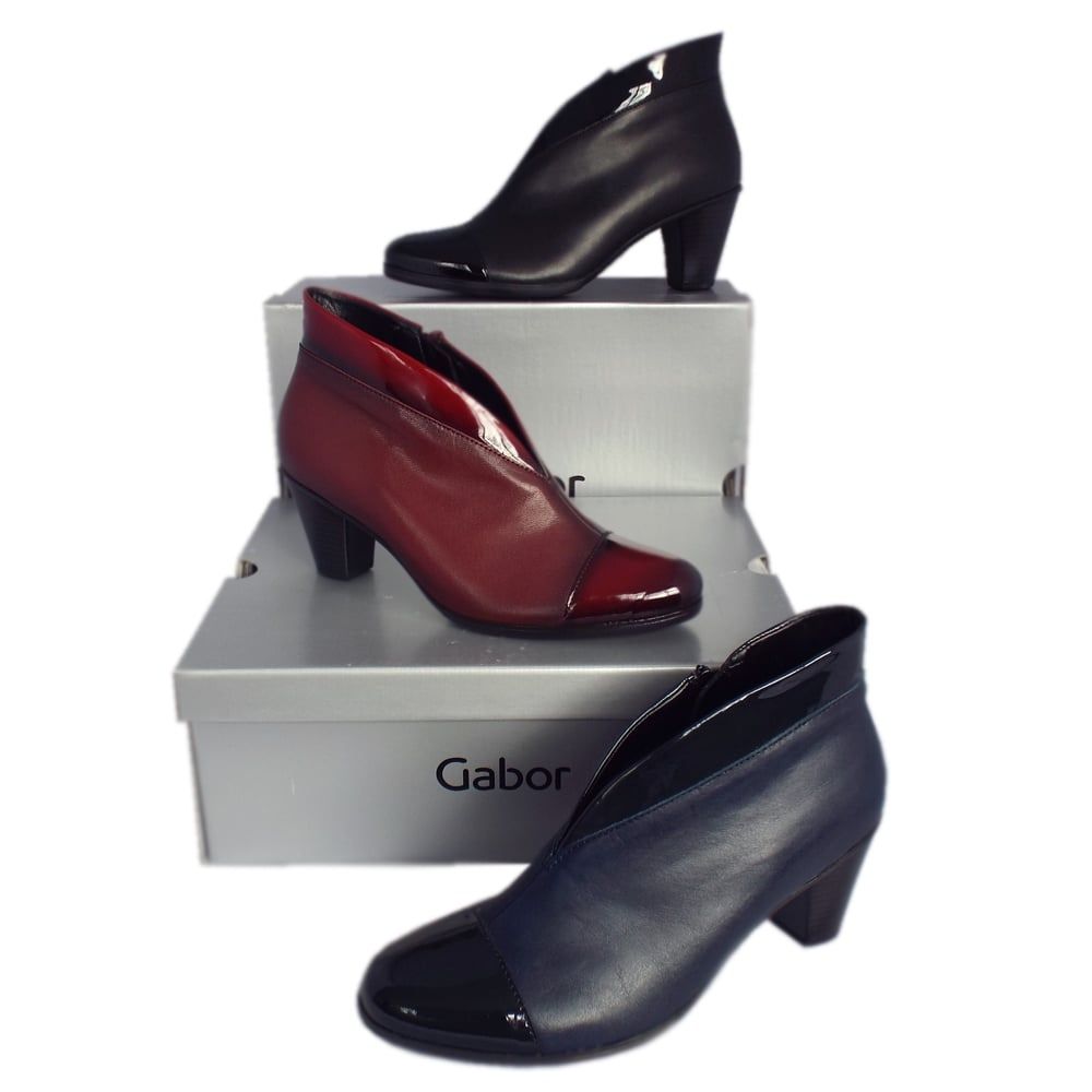 gabor boots enfield black leather and patent ankle boots