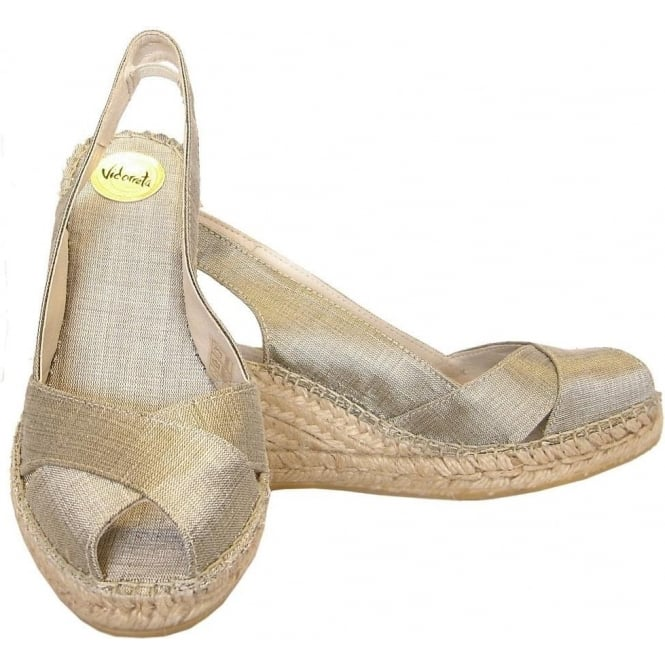 732578ef279 Vidorreta Estella mid wedge peep toe sling back espadrilles in gold taupe