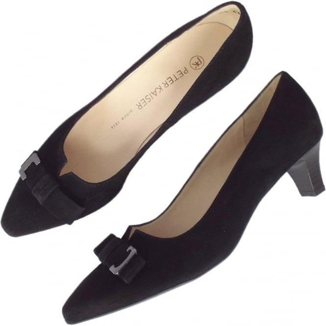 e1d6f109d53 Esti Women  039 s Smart Low Heel Court Shoes in Black Suede