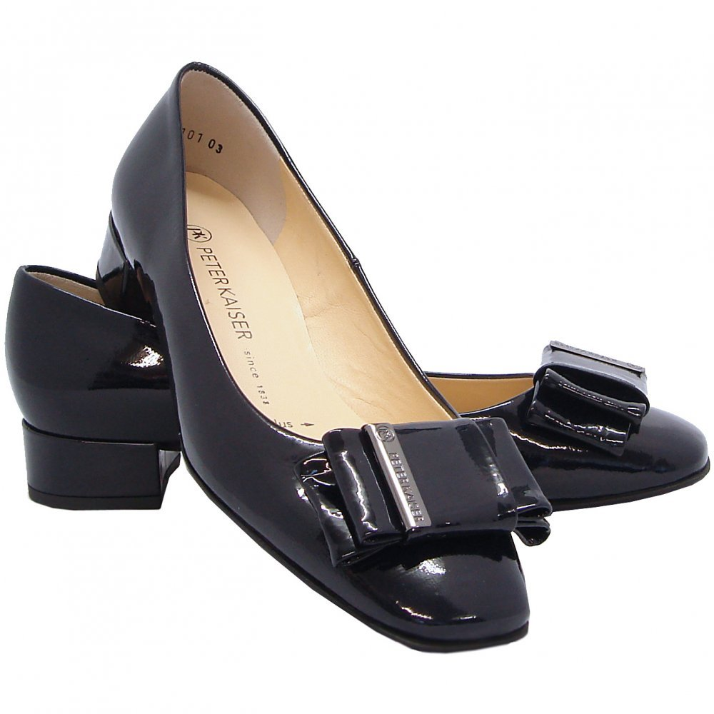peter kaiser eunice dressy pumps in navy patent mozimo. Black Bedroom Furniture Sets. Home Design Ideas