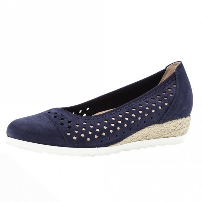 Gabor Evelyn Wide Fit Low Wedge Pumps in Navy