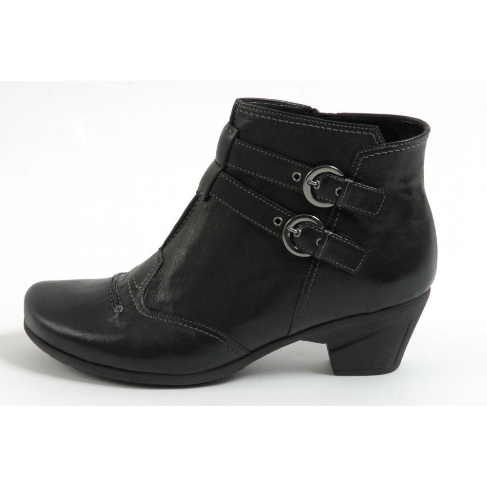 Gabor Boots | Farrah Ladies Ankle Boot in Black with Buckles| Mozimo