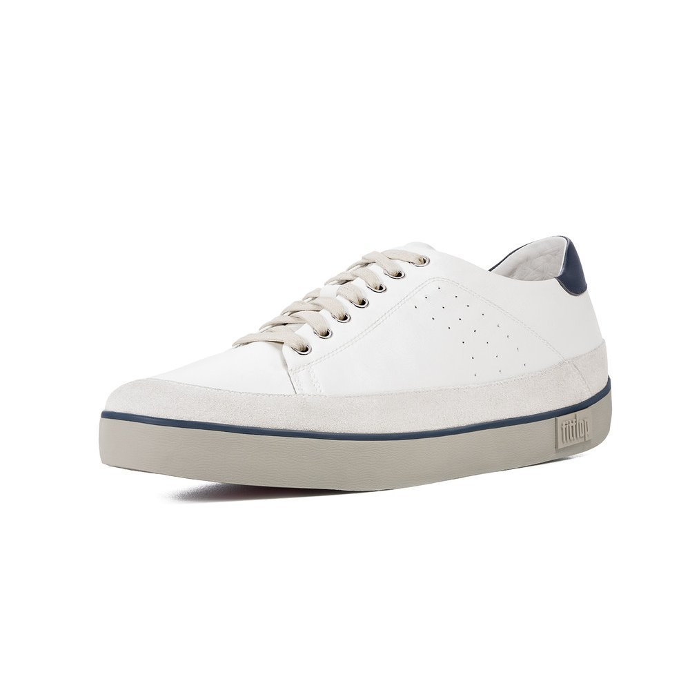 Fitflop Supertone Mens Leather In Off White Leather Sneaker Mozimo