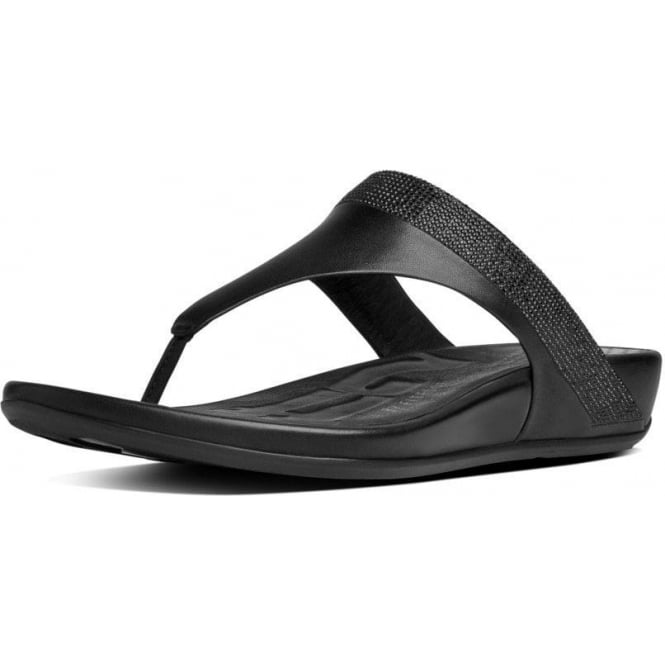1088ab6d5 FF2™ by FitFlop™ Banda™ Micro-Crystal Toe-Post Black Sandals