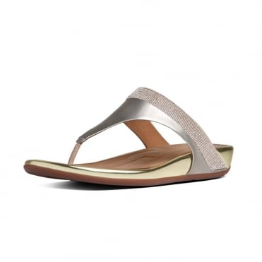 FF2™ by FitFlop™ Banda™ Micro-Crystal Toe-Post Gold Sandals