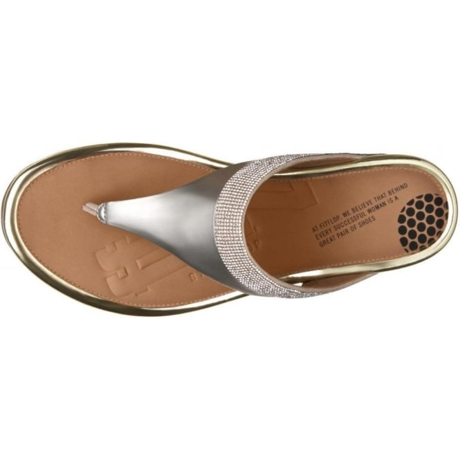 4d8b15189d313 FF2™ by FitFlop™ Banda™ Micro-Crystal Toe-Post Gold Sandals