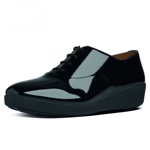 Ff By Fitflop Womens Black F Pop Patent Leather Oxford Shoes