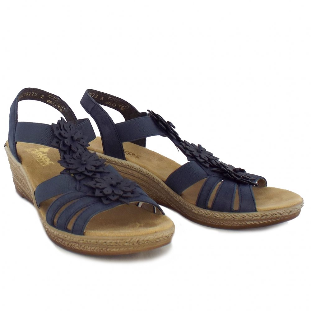 Rieker Sandals Firefly Ladies Wedge Sandals In Blue Mozimo