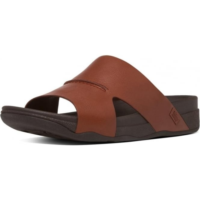 Fitflop Bando Slide Sandals Men S Tan Leather Sandals