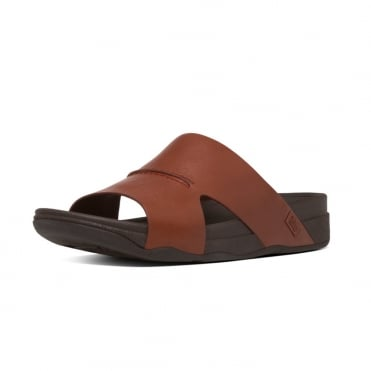 Bando™ Men's Leather Slide Sandals in Dark Tan