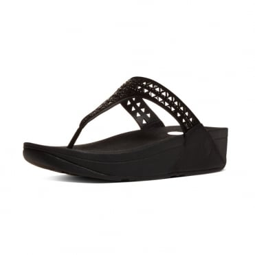 FitFlop Carmel™ Toe-Post Sandals in Black Suede