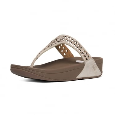 FitFlop Carmel™ Toe-Post Sandals in Rose Gold Suede