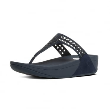 FitFlop Carmel™ Toe-Post Sandals in Supernavy Suede