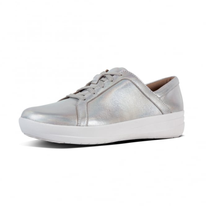 FitFlop F-Sporty™ II Lace Up Sneakers - Iridescent Leather in Silver
