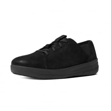 FitFlop F-Sporty™ Leather Sneakers in Black Glimmer