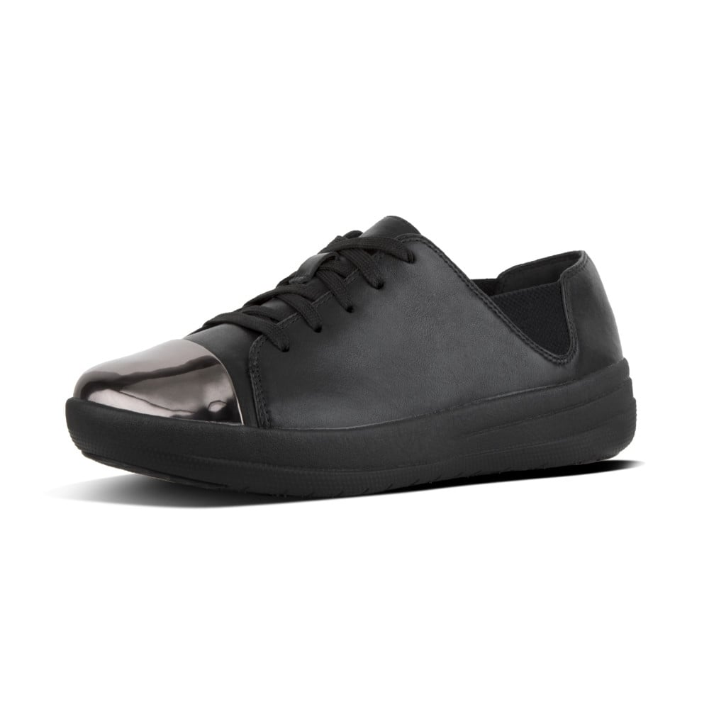 d07c043ee F-Sporty™ Mirror-Toe Leather Lace-up Sneakers in Black